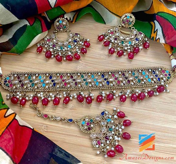 Multicolored Flexible Choker with Earrings Tikka Set