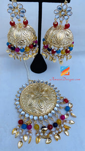 Multicolored Lightweight Pippal Patti Kundan Jhumka Oversized Tikka