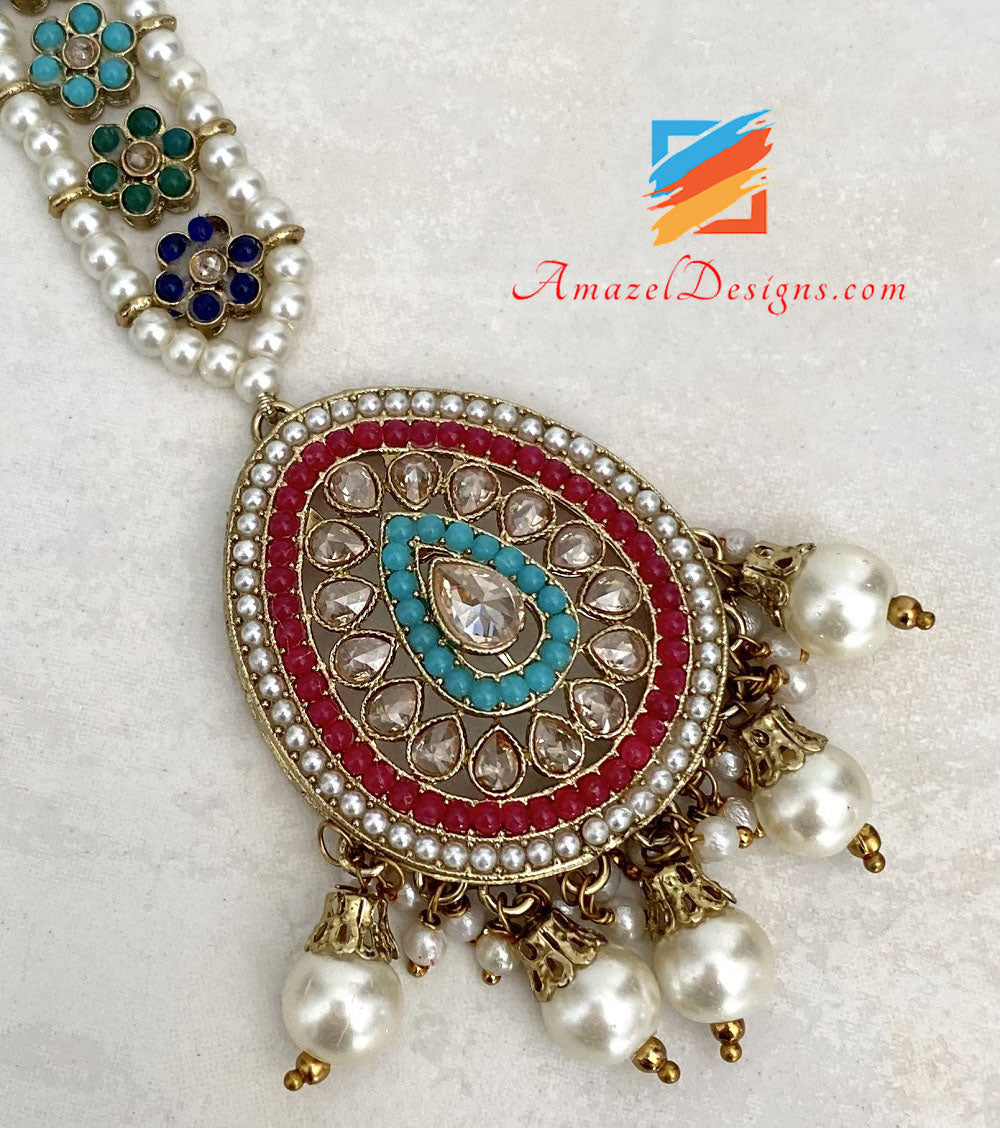 Multicolored Polki Necklace Earrings Tikka Set