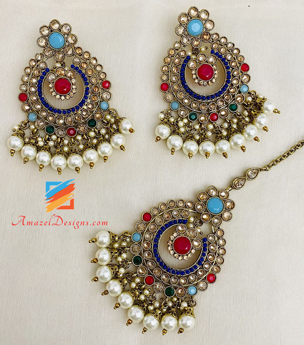 Multicolored Polki Single Line Necklace and Earrings Tikka Set