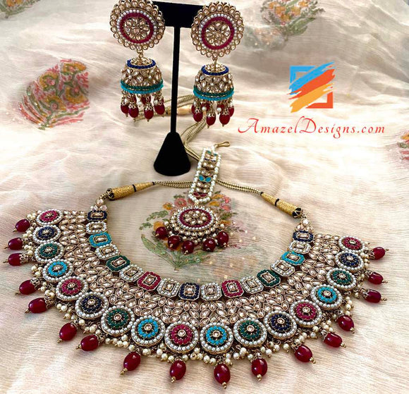 Multicolored Polki with Ruby Pearls Necklace Jhumki Tikka Set