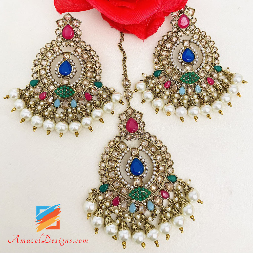 Multicoloured Choker Earrings Tikka Set