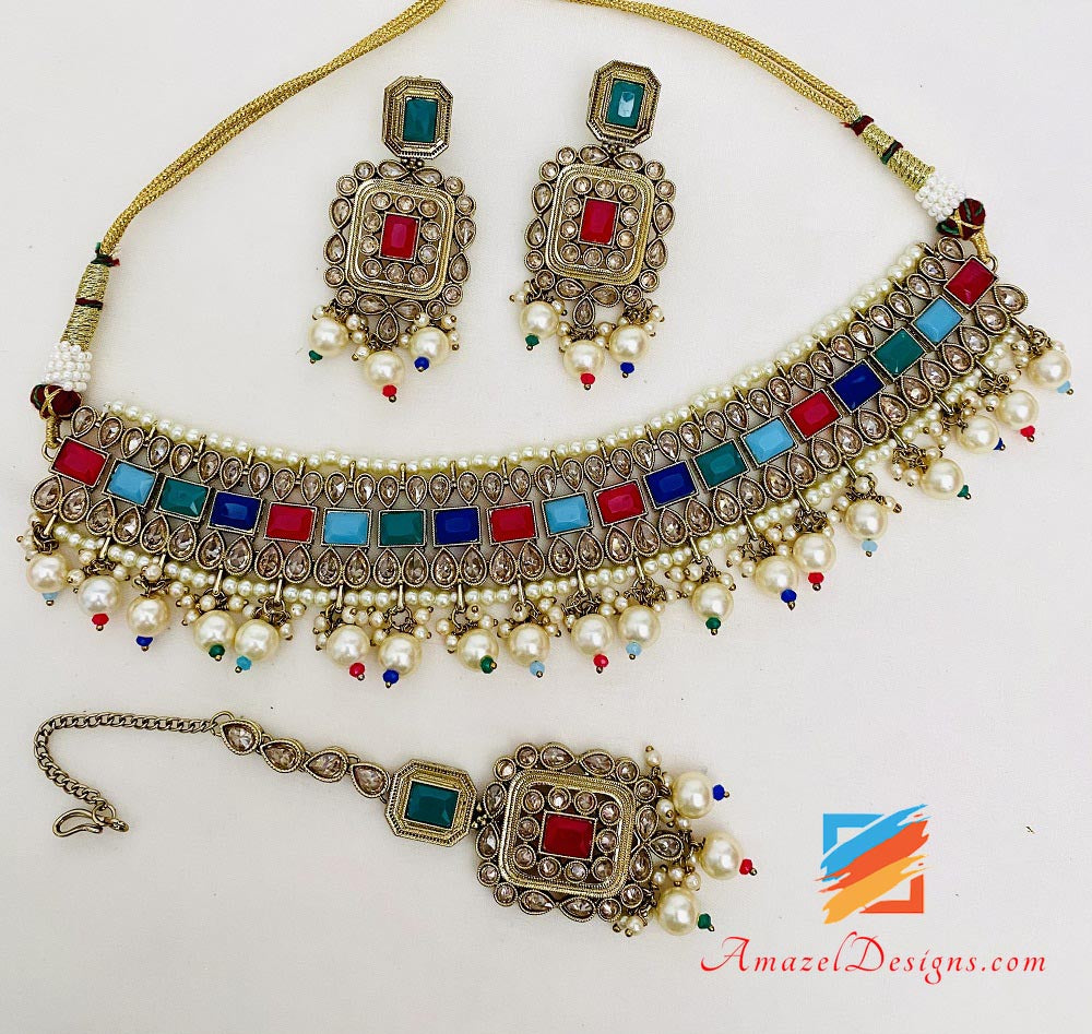 Multicoloured Polki Necklace Earrings Tikka Set