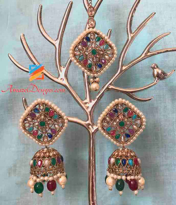 Multicoloured Emerald Ruby Jhumka Earring Tikka Set
