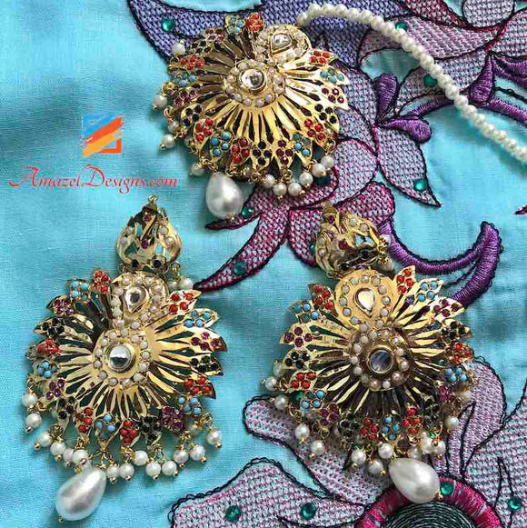 Multicoloured Kundan Jadau with Hanging Pearl Earring Tikka Set