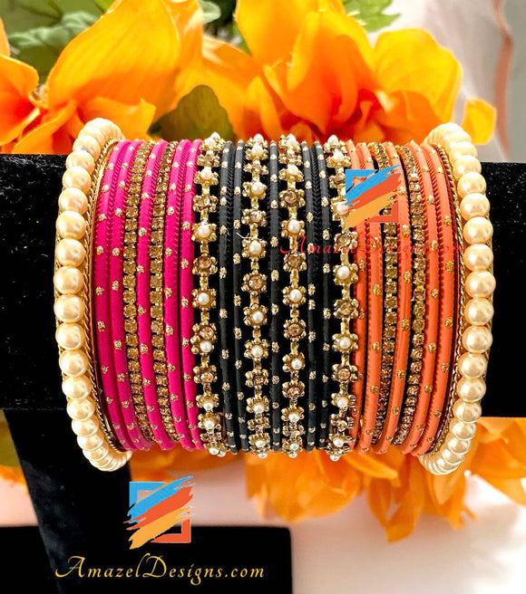 Orange Magenta Black Cream Bead Kadas Bangle Set