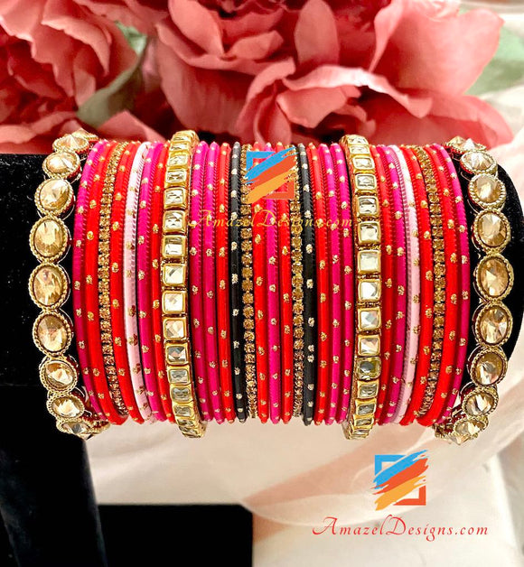 Orange Magenta Kundan Bangle Set