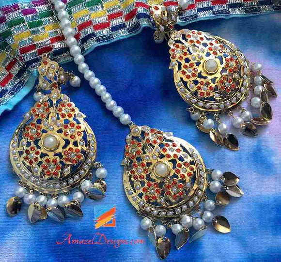 Orange Jadau Pippal Patti Earring Tikka Set