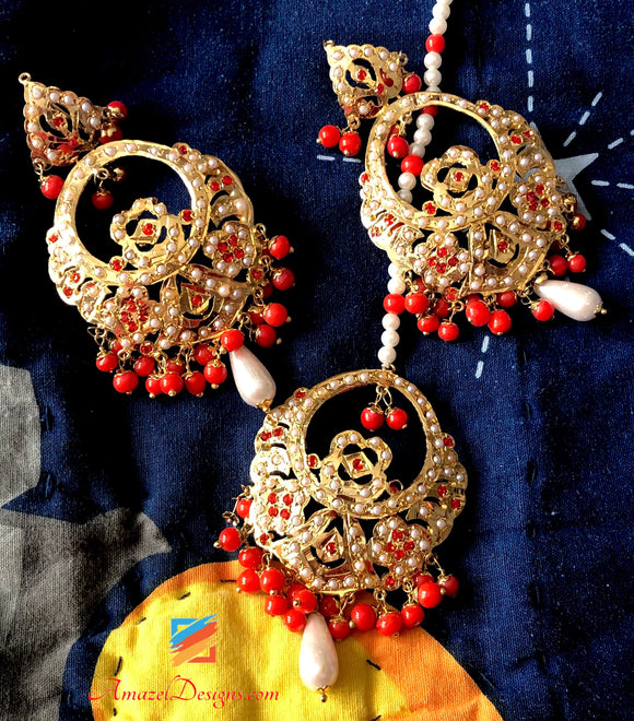 Orange Jadau with White Pearl Earring Tikka Set