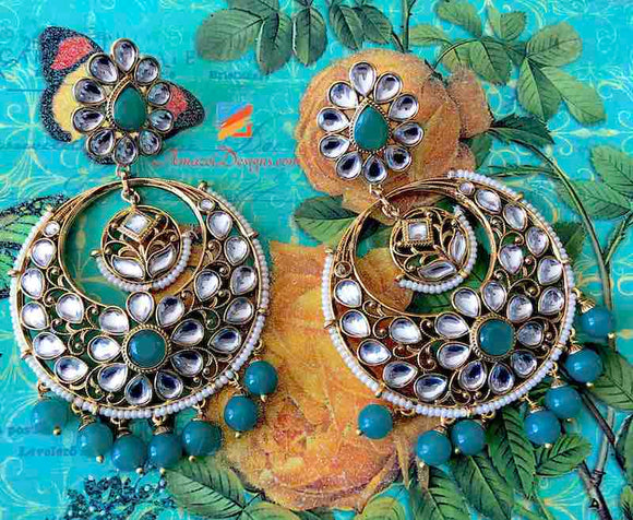 Oversized Kundan Emerald Earrings