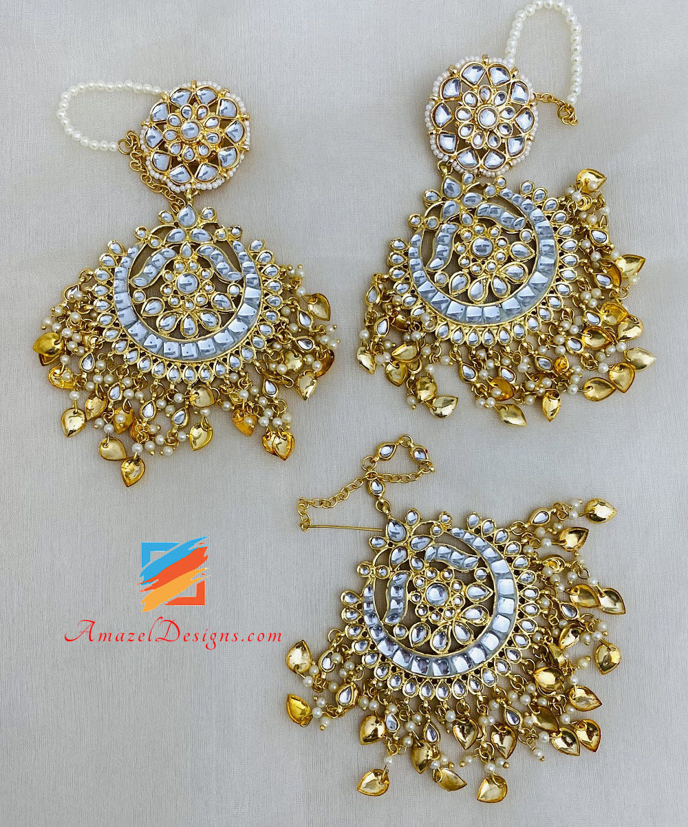 Oversized Kundan Pippal Patti Golden Earrings Tikka Set