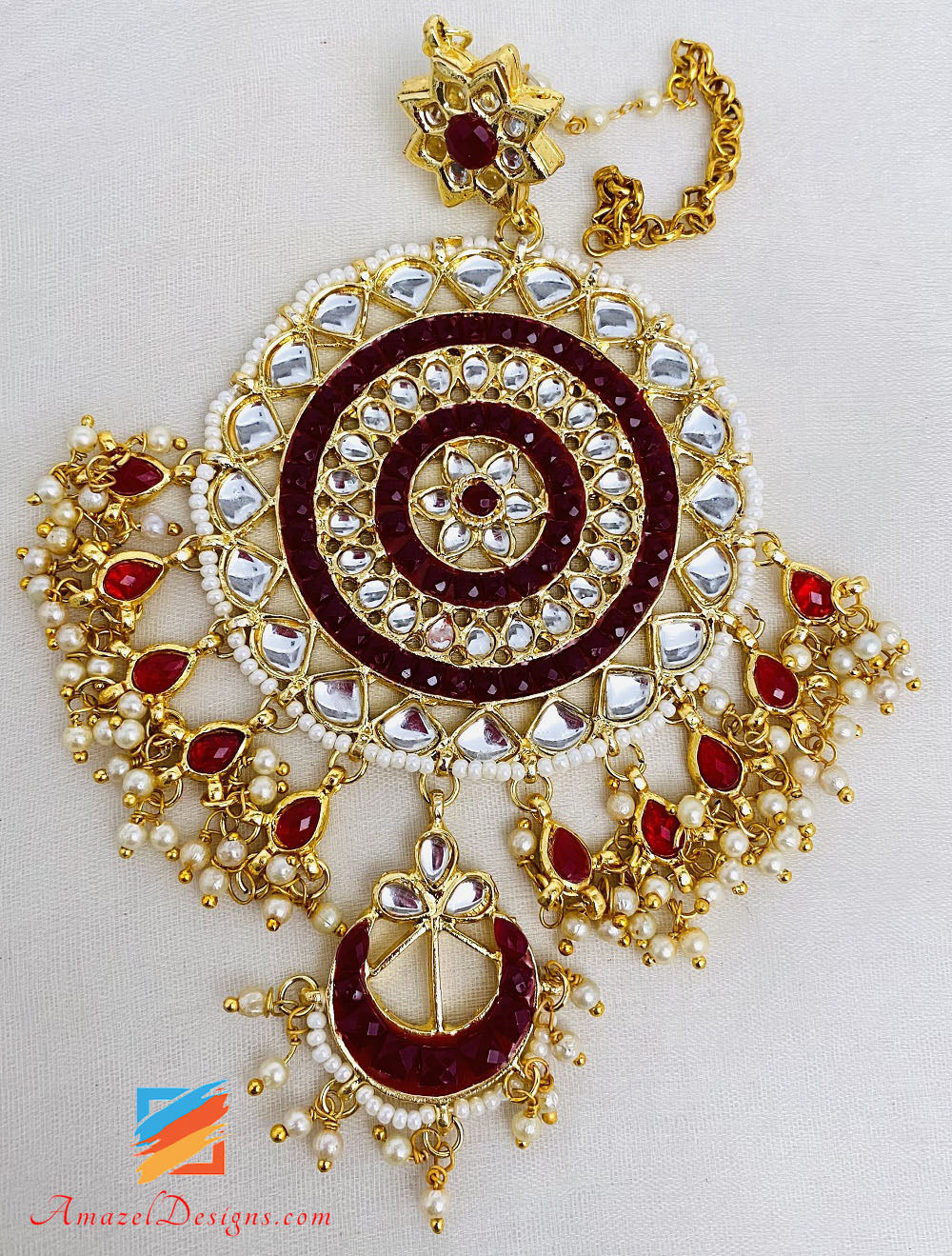 Oversized Mehroon Kundan Earrings Tikka Set