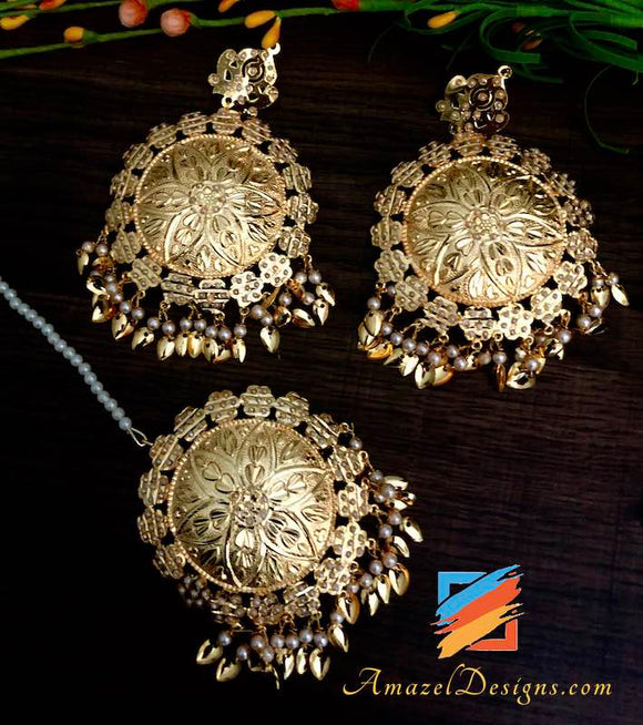 Oversized Traditional Golden Jadau Pipal Patti Earrings Tikka Set