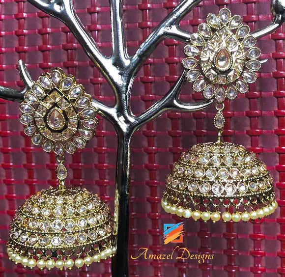 POLKI Golden Oversized Jhumka