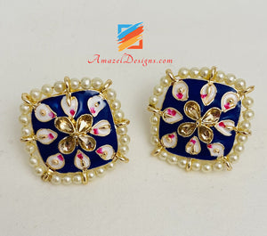 Painted Meenakari Blue Studs
