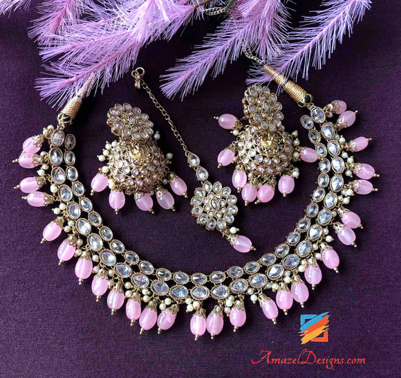 Pastle Pink Clear Polki Jhumki Necklace Set