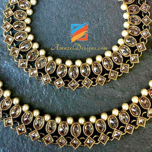 High Quality Polki Payal White Beads