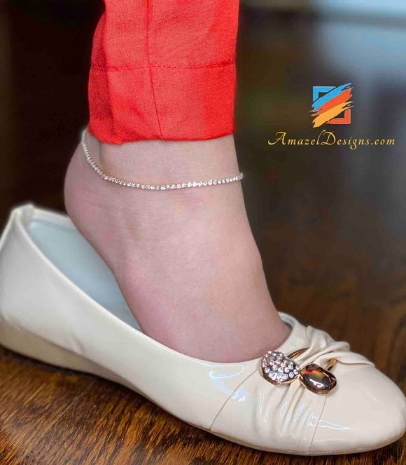 Golden Anklets with White Stone