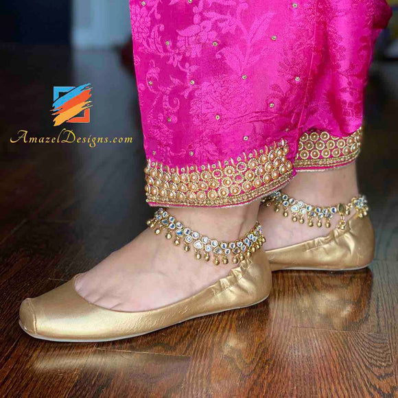 American Diamond Payal Anklet with Gungroo Bells