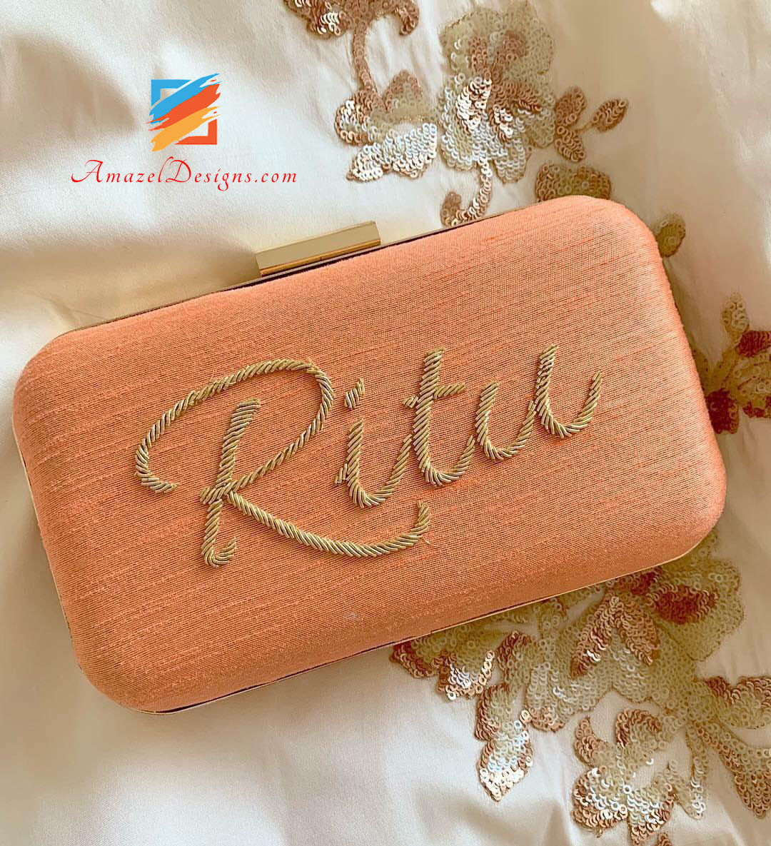 Peach Clutch With Name