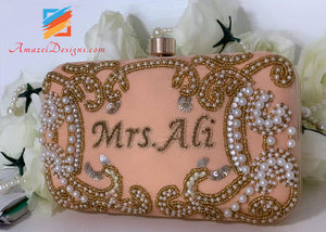 Peach Color Clutch With Pearls