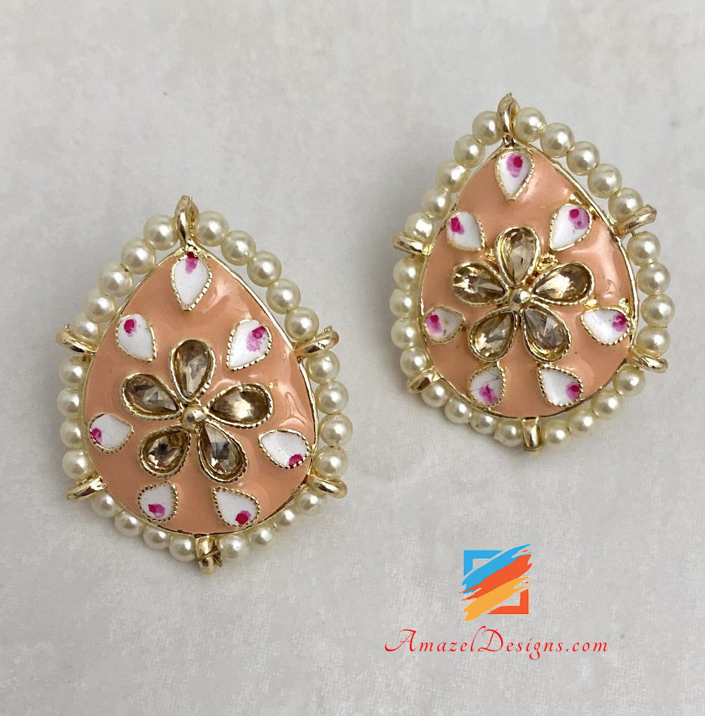Peach Painted Meenakari Studs