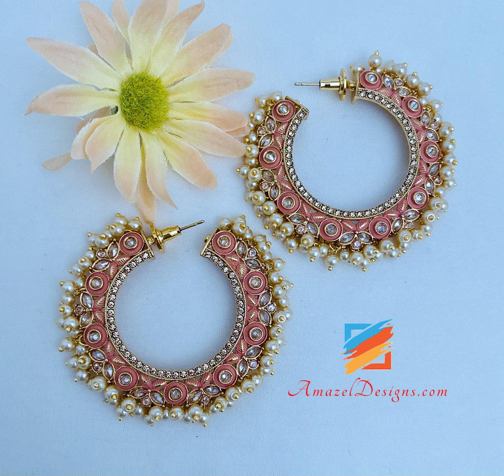Peach Painted Pearly Polki Hoops