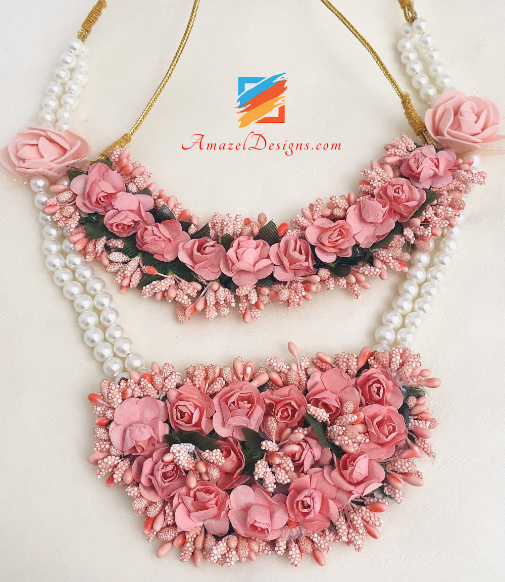 Peach Pinkish Long Choker Double Necklaces