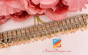 Peach Polki Choker Earrings Tikka Set
