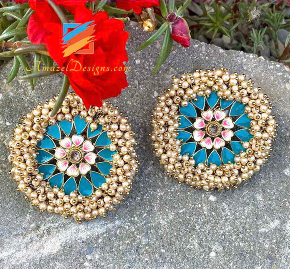 Pearlie Studs Earrings Red Bluish Green