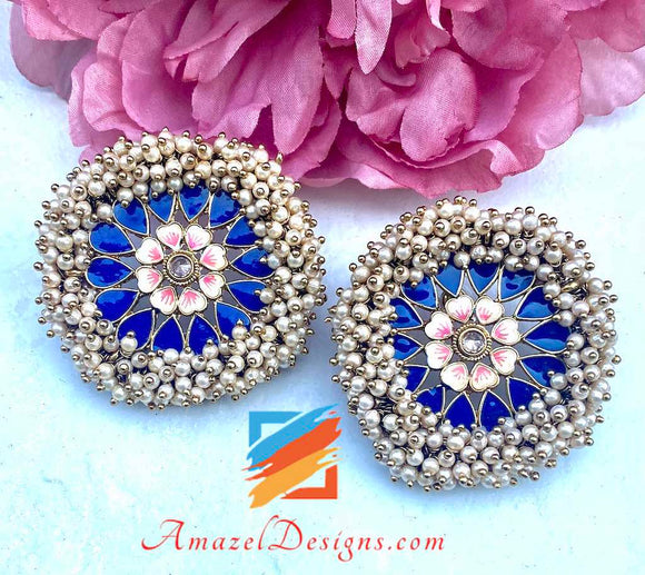Pearlie Studs Earrings Blue