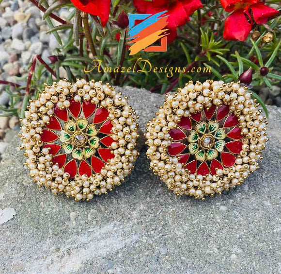 Pearlie Studs Earrings Red