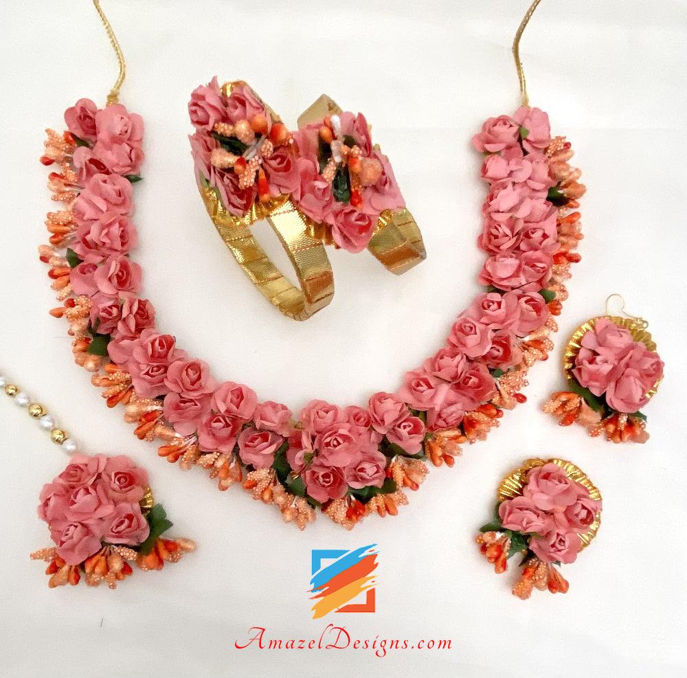 Pink Flower Necklace Earrings Tikka And Kadas