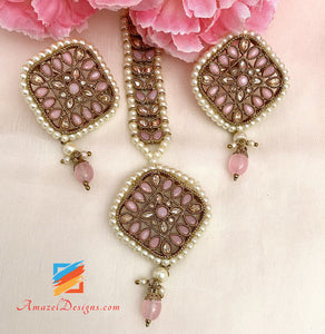 Pink Polki Studs And Tikka Set