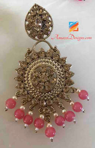 Pink Beads Earring Tikka Set