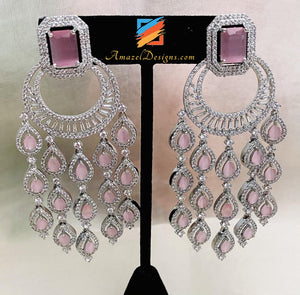 Pink and Silver American Diamond (AD) Earrings