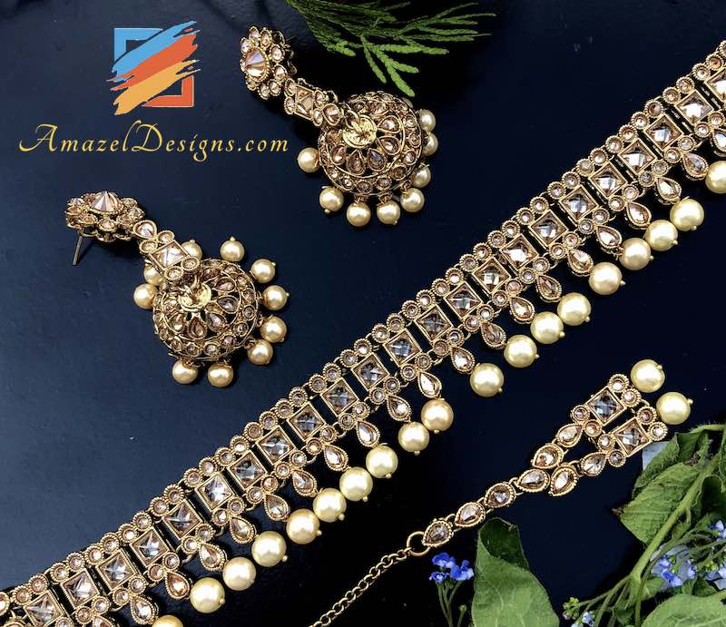 Polki Choker Set with Earrings Tikka Set