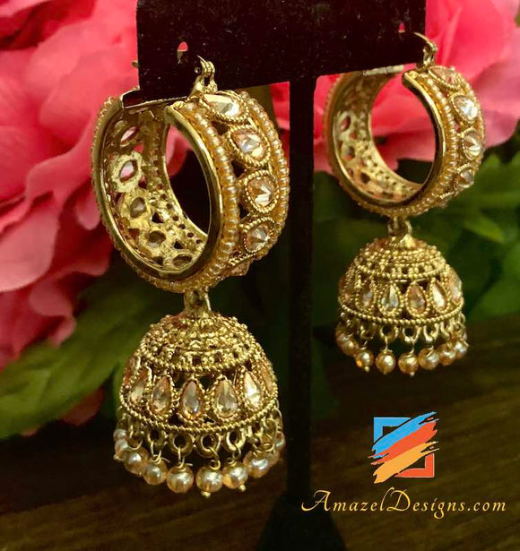 Polki Dull Gold Waliyaan with Small Jhumki with light Peach Beads