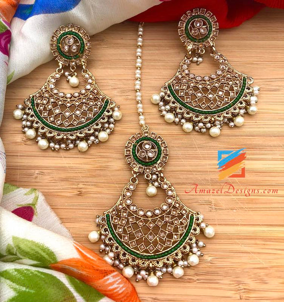 Polki Earrings Tikka Set with Green Beads and White Pearls