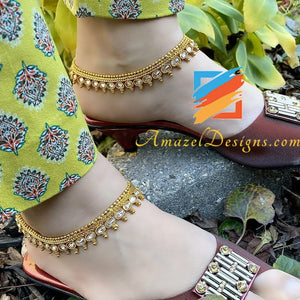 Polki High Quality Golden Anklet