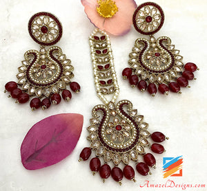 Polki High Quality Maroon Earrings Tikka Set