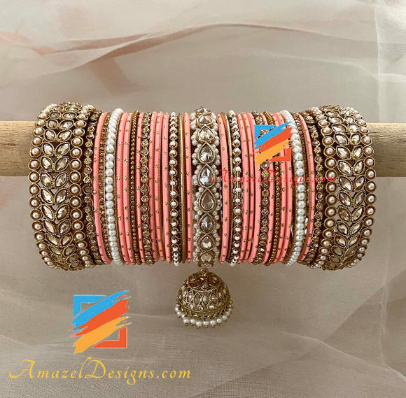Polki Jhumki Peach Bangle Set