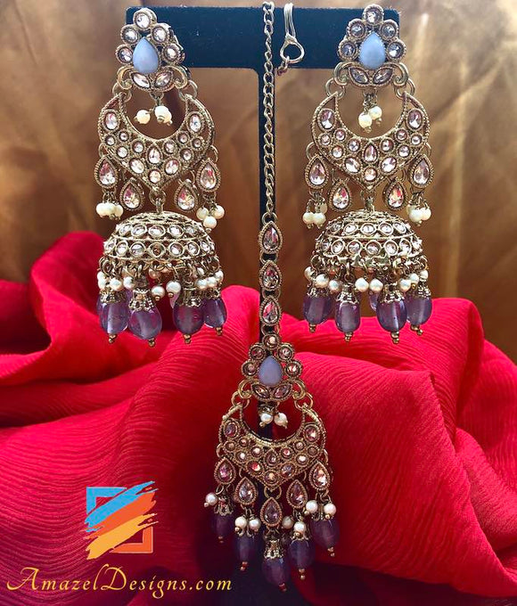 Polki Jhumki with Grey Beads Earrings Tikka Set