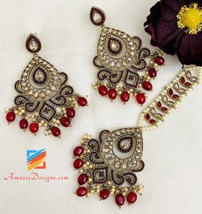 Polki Maroon Earrings Tikka Set