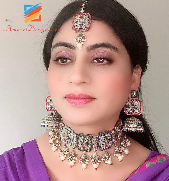 Polki Multicolored Choker And Jhumki Tikka Indian Set