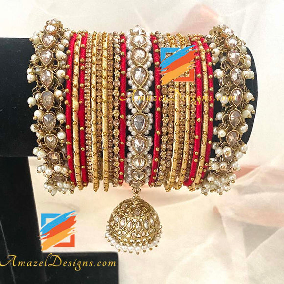 Polki Pearlie Jhumki Bangle Set