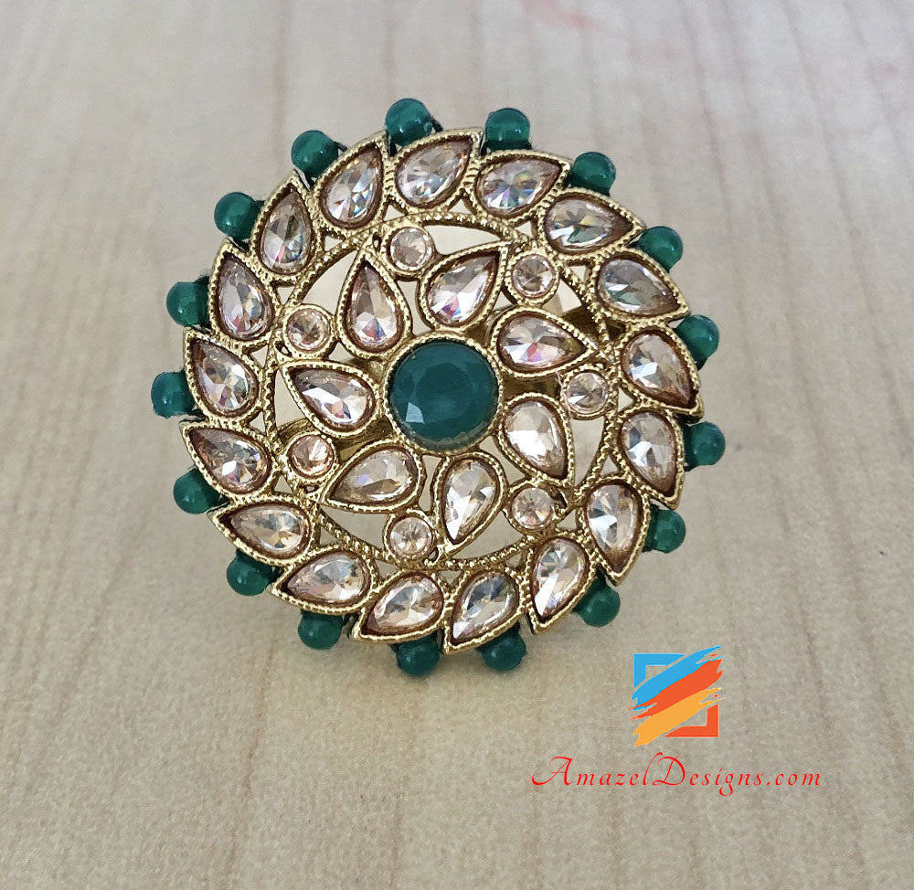 Polki Ring with Green Beads Adjustable