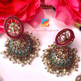 Multicoloured Very fine Polki Necklace Set