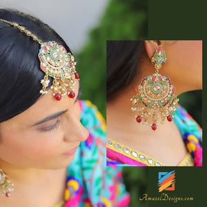 High Quality Multicoloured with Red Pearls Polki Earring Tikka Set