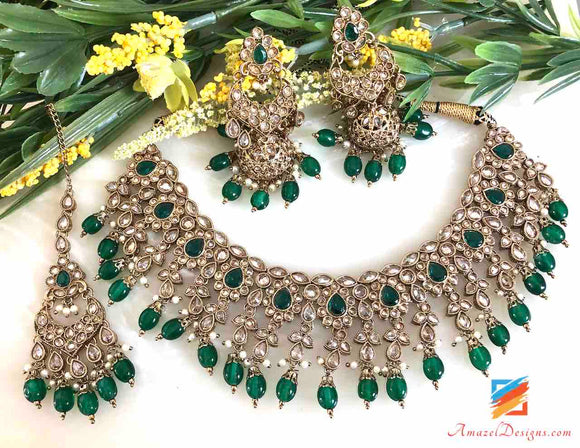 Emerald High Quality Polki Necklace with Earrings and Tikka